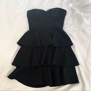 Amanda Uprichard tiered ruffle dress black